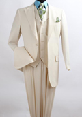 SKU#SZ3Q2 Men's 3 Piece Fashion three piece suit - Wool Feel with Peak Lapel Ivory~Cream~Off White dinner jacket / blazer