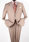SKU#AFA21 Men's 2 Piece Executive Discount three piece suit - Peak Lapel Taupe