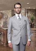 Sku#Uhb81 2 Button Light Gray ~ Grey Suit With A Vest Super 150'S Italian Wool Pick Stitched Lapel Slanted Pocket