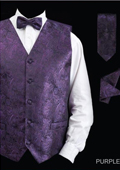 Men's 4 Piece Vest Set (Bow Tie, Neck Tie, Hanky) - Paisley Design Purple $49