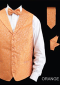 SKU#KL353 Men's 4 Piece Vest Set (Bow Tie, Neck Tie, Hanky) - Lapelled Vest Orange $75