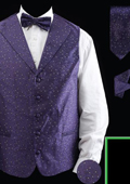 Men's 4 Piece Vest Set (Bow Tie, Neck Tie, Hanky) - Lapelled Vest Purple $49