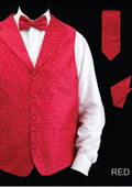 Men's 4 Piece Vest Set (Bow Tie, Neck Tie, Hanky) - Lapelled Vest Red $49