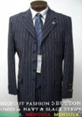 SKU WVN448 Beautiful 5 Button Navy Blue Pinstripe Suit With Nice Cut Smooth Soft Fabric 139