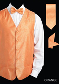 SKU#NNW3 Men's 4 Piece Vest Set (Bow Tie, Neck Tie, Hanky) - Shiny Paisley Jacquard Orange $75