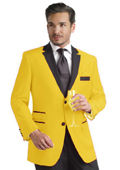 Yellow Two Button Notch Party Suit & Tuxedo & Blazer w/ Black Lapel $595