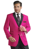 SKU#FHY99 fuchsia ~ hot Pink Two Button Notch Party Suit & Tuxedo & Blazer w/ Black Lapel 7 days delivery