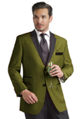 SKU#YYE18 Olive Green Two Button Notch Party Suit & Tuxedo & Blazer w/ Black Lapel $595