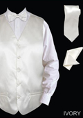 SKU#IVM9 Men's 4 Piece Vest Set (Bow Tie, Neck Tie, Hanky) - Satin Ivory