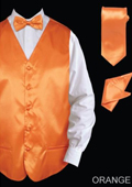 SKU#BORR55 Men's 4 Piece Vest Set (Bow Tie, Neck Tie, Hanky) - Satin Orange $75