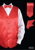Men's 4 Piece Vest Set (Bow Tie, Neck Tie, Hanky) - Satin Red $65