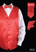 Men's 4 Piece Vest Set (Bow Tie, Neck Tie, Hanky) - Satin Red $65