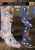 SKU#KKJ92 Los Altos Square-Toe Denim w/ Patches Mens Western Cowboy Boot
