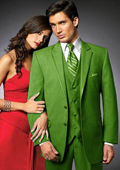 SKU#SYM3 2 Btn Suit/Stage Party Tuxedo Satin Trim outlines a Notch Lapel Matching Trousers lime mint Green $595