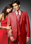 2 Btn Suit/Stage Party Tuxedo Satin Trim outlines a Notch Lapel Matching Trousers Red $595