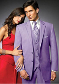 SKU#LVG2 2 Btn Suit/Stage Party Tuxedo Satin Trim outlines a Notch Lapel Matching Trousers Lavender 7 days delivery
