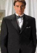 Designer Solid Black Wool Feel Light Weight Soft Poly~Rayon Soft Tuxedo Suit + Shirt + BowTie Package $149