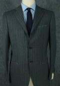 SKU ZP3 Vintage Style Italian Super 140s Wool Charcoal Gray Pinstripe Mens Business Suit 199
