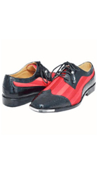 Mens Dress Shoes Stylish Spectator Style Cool Red & Black 2 Tone $189