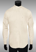 SKU#KF297 Nehru Collar Dress Shirt Ivory Light Medium Wt Fabric