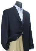 3 Button Navy Blue patterned 100% Wool Blazer with Metal Buttons $159