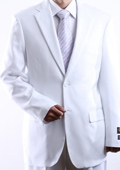 SKU#HSE4 Mens Two Button 2 Button Jacket White Dress Suit Side Vent Pleated Pants