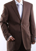 SKU#QWL1 Mens Two Button 2 Button Jacket Cocoa Dress Suit Side Vent Pleated Pants