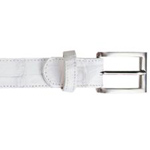 SKU#XVG44 Belvedere All-Over Genuine Hornback Crocodile ~ alligator Belt White $199