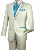 SKU#DJ444 Tuxedo turquoise ~ Light Blue Stage Party Trim Microfiber Two Button Notch 5-Piece Choice of Solid White or Ivory