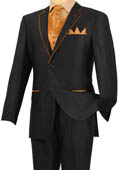 Black Orange-Peach Trim Microfiber
