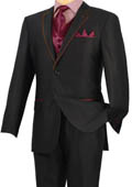 Tuxedo Black Burgundy ~ Maroon ~ Wine Color Trim Microfiber Two Button Notch 5-Piece $585