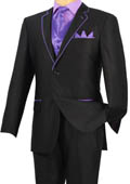 Tuxedo Black Lavender Trim Microfiber Two Button Notch 5-Piece $585