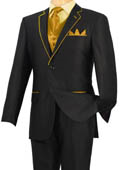 Tuxedo Black Gold-Camel Trim Microfiber Two Button Notch 5-Piece