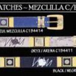 SKU#UKK89 Cowboy Diamond Belts 1.5 Width Denim with Patch with Gold Brackets by Los Altos