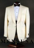 Best Quality Superfine 120's Wool 1-button Shawl Single-breasted, Color: Ivory $229
