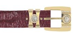 SKU#IX22 Los Altos Burgundy ~ Maroon ~ Wine Color Genuine Crocodile ~ alligator With Rhinestone / Gold Plated Brackets Belt $179
