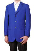 Men's Royal Blue Single Breasted Three Button Suit Jacket Sportscoat Dinner Blazer $99