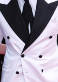 Stylish White Double Breasted Suit with Black Lapel