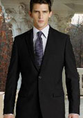 UMO Collezion 100% Solid Black Wool 2 Button No Pleated Suits $119