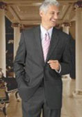 Wool Flat Front No Pleated Pants & 2 Button Charcoal Gray On Sale $149