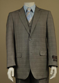 Men's 2 Button Window Pane Glen Plaid Patterned Vested 3PC Suit Taupe $185