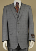 Men's 2 Button Window Pane Plaid Patterned Vested 3PC Suit Light Gray