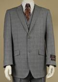 Men's 2 Button Window Pane Glen Plaid Patterned Vested 3PC Suit Light Gray $185