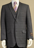 Men's 2 Button Window Pane Glen Plaid Patterned Vested 3PC Suit Charcoal Gray $185
