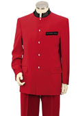 Men's 2 Piece Microfiber Fashion Suit - Nehru Style with Sparkling Accents Red $249