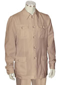 SKU#TU5R Men's 2 Piece Long Sleeve Walking Suit - Casual Urban Style Taupe