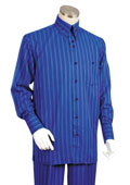 Men's 2 Piece Long Sleeve Walking Suit - Triple Stripe Royal $125