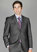 SKU#AL88 Men's Slim Fit Charcoal Stripe Wool and Silk Blend Suit $175