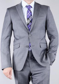 Mens Textured Grey 2-Button