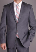 SKU#AK41 Mantoni Men's Charcoal Gray Wool Slim-fit 2-Button Suit $175